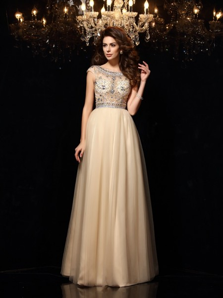 Stylish A-Line/Princess Beading Sleeveless Scoop Long Net Dresses