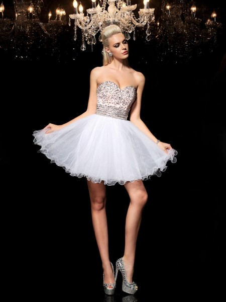 Stylish A-Line/Princess Beading Sleeveless Sweetheart Short Net Cocktail Dresses