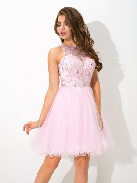 Stylish A-Line/Princess Beading Sleeveless SheerNeck Short Net Cocktail Dresses