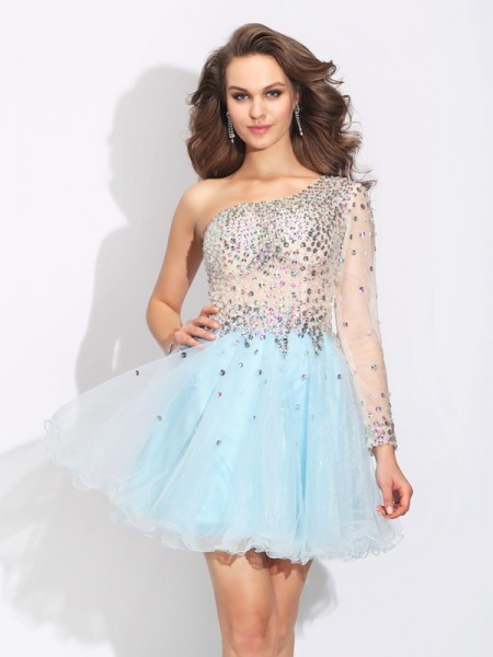 Stylish A-Line/Princess Beading Long Sleeves One-Shoulder Short Elastic Woven Satin Dresses
