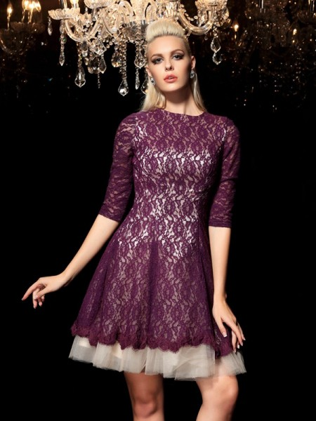 Fashion A-Line/Princess Lace 1/2 Sleeves SheerNeck Short Lace Cocktail Dresses