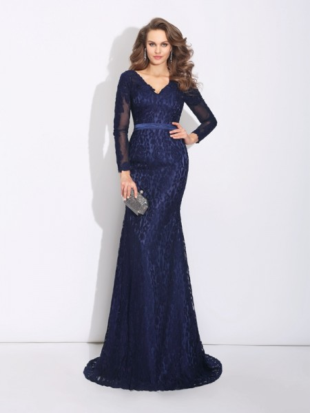Stylish Sheath/Column Long Sleeves Long V-neck Lace Dresses