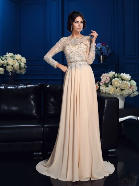 Stylish A-Line/Princess Beading Long Sleeves Scoop Long Chiffon Mother of the Bride Dresses