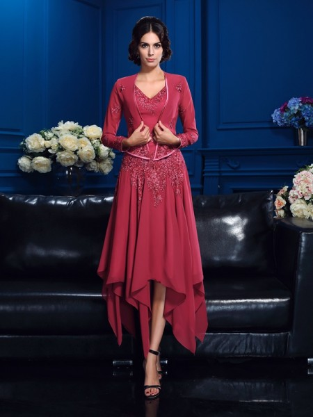 Stylish A-Line/Princess Applique Sleeveless V-neck High Low Chiffon Mother of the Bride Dresses
