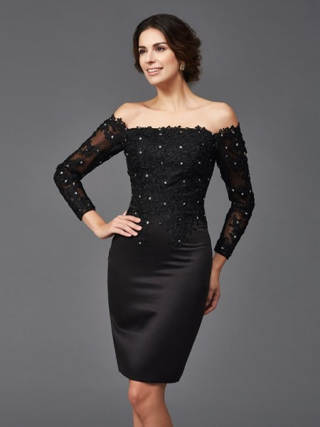 Fashion Sheath/Column Lace Long Sleeves Off-the-Shoulder Short Satin Mother of the Bride Dresses
