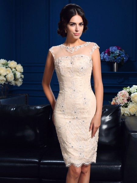 Stylish Sheath/Column Lace Sleeveless SheerNeck Short Lace Mother of the Bride Dresses