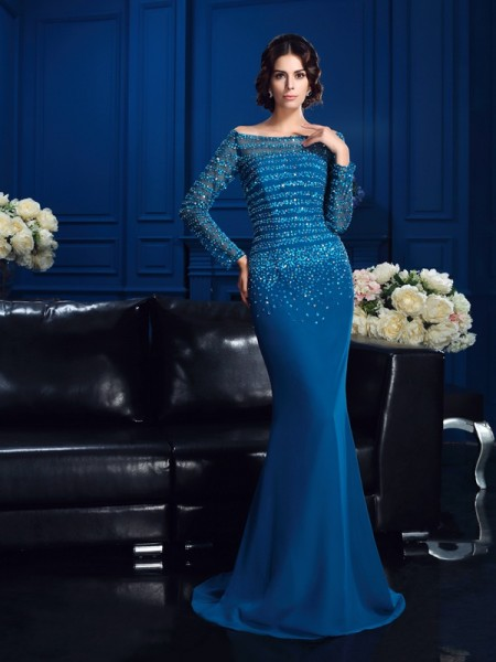 Fashion Sheath/Column Beading Long Sleeves Off-the-Shoulder Long Chiffon Mother of the Bride Dresses