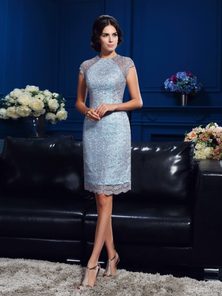 Stylish Sheath/Column Lace Short Sleeves Scoop Short Satin Mother of the Bride Dresses
