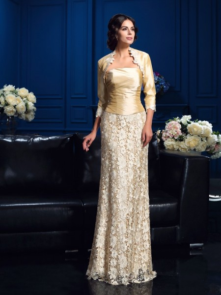 Fashion A-Line/Princess Lace Sleeveless Strapless Long Lace Mother of the Bride Dresses
