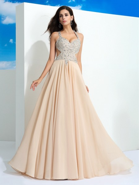 Fashion A-Line/Princess Beading Sleeveless Straps Long Chiffon Dresses