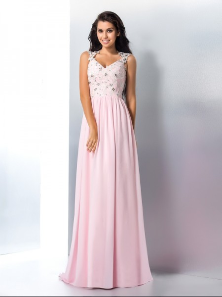 Fashion A-Line/Princess Applique Sleeveless V-neck Long Chiffon Dresses