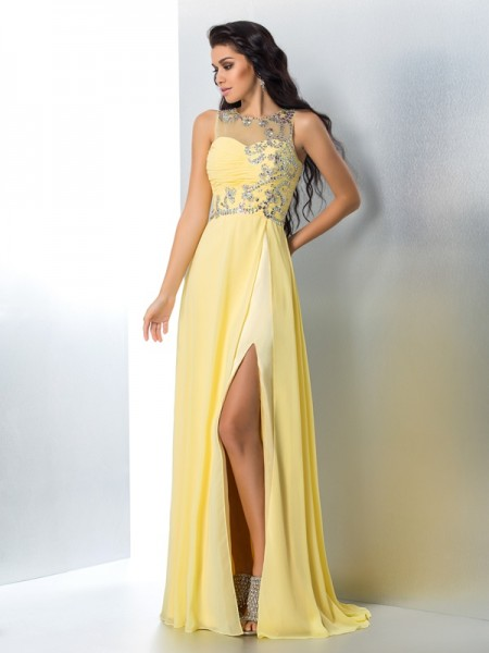 Fashion A-Line/Princess Beading Sleeveless SheerNeck Long Chiffon Dresses