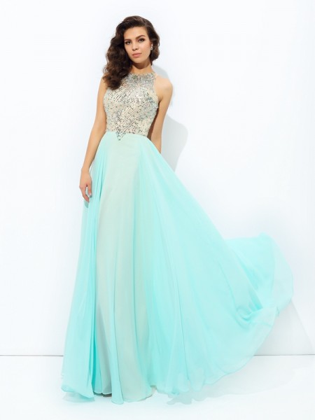 Stylish A-line/Princess Beading Sleeveless Jewel Long Chiffon Dresses