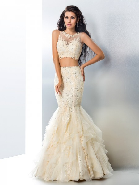Fashion Trumpet/Mermaid Beading Sleeveless SheerNeck Long Tulle Two Piece Dresses