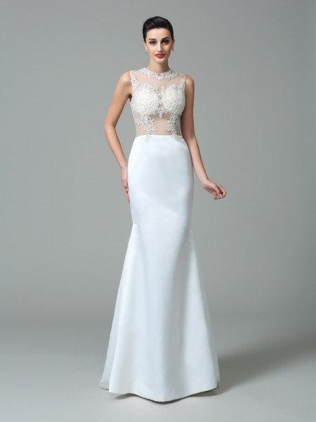 Stylish Sheath/Column Applique Sleeveless Jewel Long Satin Dresses