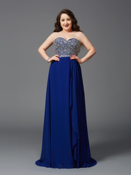 Fashion A-Line/Princess Rhinestone Sleeveless Sweetheart Long Chiffon Plus Size Dresses