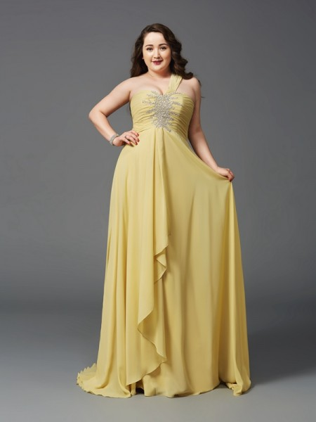 Stylish A-Line/Princess Rhinestone Sleeveless One-Shoulder Long Chiffon Plus Size Dresses