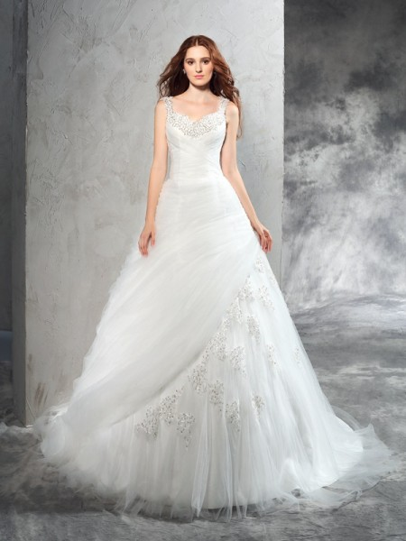 Fashion Ball Gown Applique Sleeveless Straps Long Net Wedding Dresses
