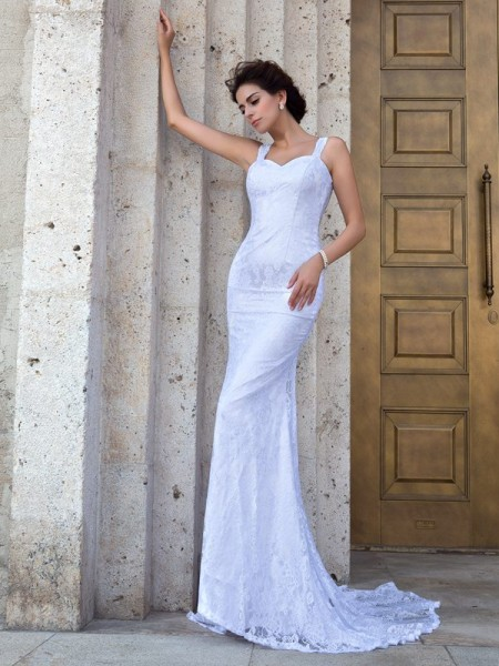 Fashion Sheath/Column Lace Sleeveless Straps Long Lace Wedding Dresses