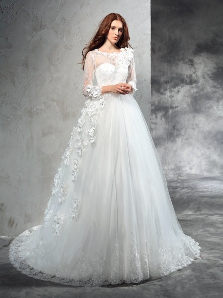 Stylish Ball Gown Hand-Made Flower SheerNeck Long Sleeves Long Net Wedding Dresses