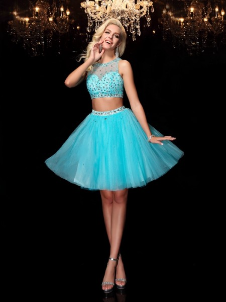 Fashion A-Line/Princess Rhinestone Sleeveless Scoop Short Net Dresses