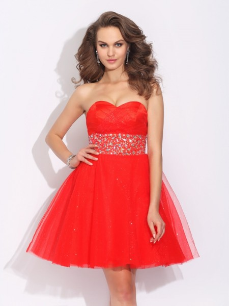 Fashion A-Line/Princess Rhinestone Sleeveless Sweetheart Short Net Dresses