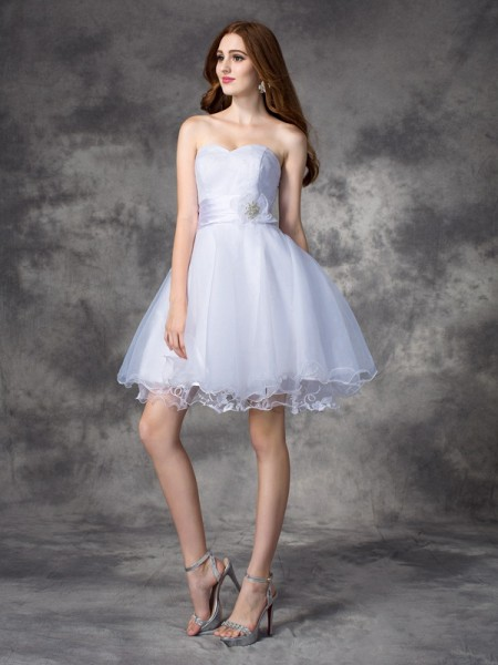 Fashion A-line/Princess Ruffles Sleeveless Sweetheart Short Organza Dresses