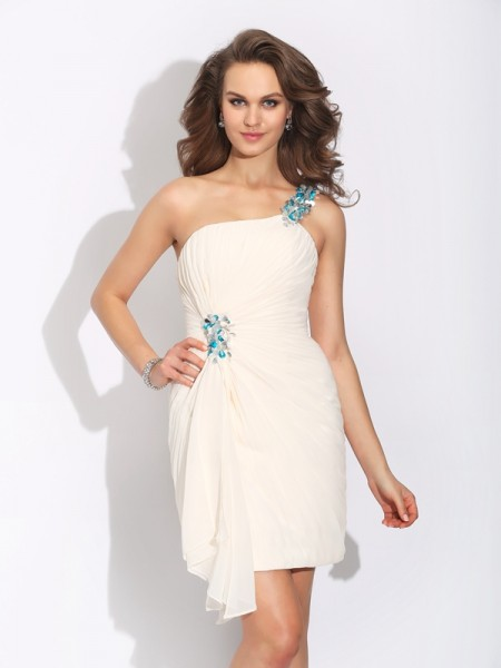 Stylish Sheath/Column Beading Sleeveless One-Shoulder Short Chiffon Dresses
