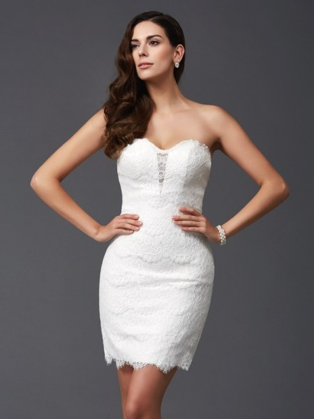 Stylish Sheath/Column Lace Sleeveless Sweetheart Short Lace Dresses
