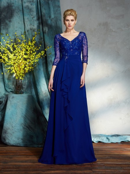 Stylish A-Line/Princess Sequin 3/4 Sleeves V-neck Long Chiffon Mother of the Bride Dresses
