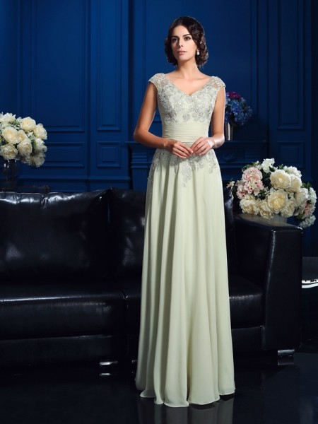 Stylish A-Line/Princess Applique Sleeveless V-neck Long Chiffon Mother of the Bride Dresses
