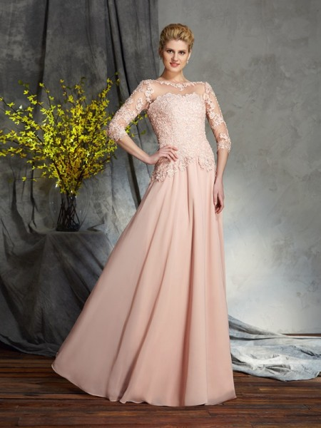 Stylish A-Line/Princess Applique 3/4 Sleeves Scoop Long Chiffon Mother of the Bride Dresses