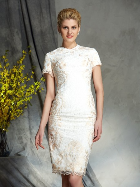 Fashion Sheath/Column Lace Short Sleeves Jewel Short Lace Mother of the Bride Dresses