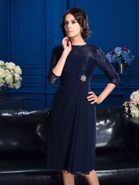Fashion A-Line/Princess Lace 3/4 Sleeves Jewel Short Chiffon Mother of the Bride Dresses
