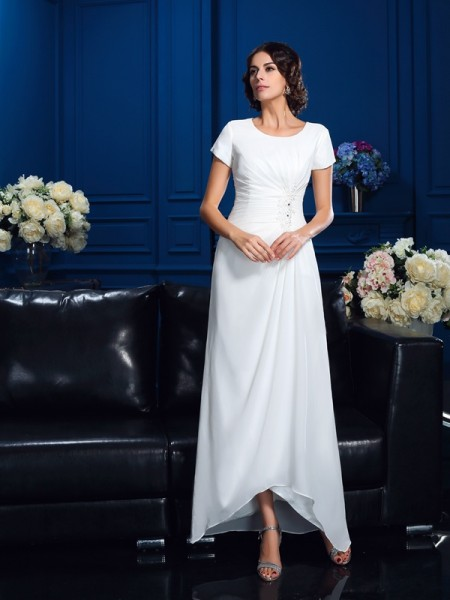 Stylish A-Line/Princess Short Sleeves High Scoop Low Chiffon Mother of the Bride Dresses