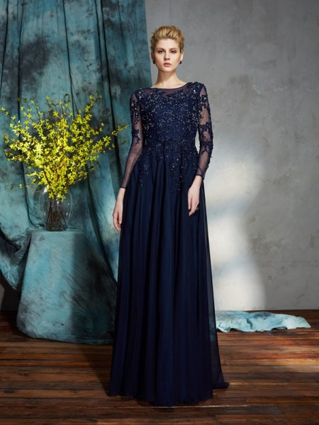 Fashion A-Line/Princess Applique 3/4 Sleeves Scoop Long Chiffon Mother of the Bride Dresses