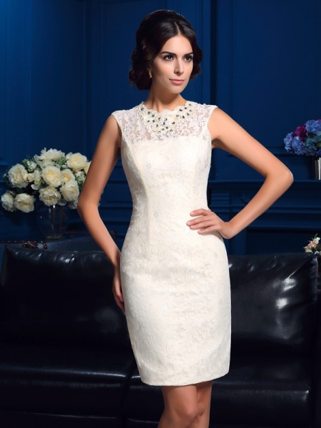 Fashion Sheath/Column Lace Sleeveless Jewel Short Lace Mother of the Bride Dresses