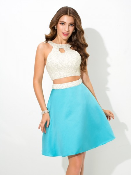 Stylish A-Line/Princess Beading Sleeveless Jersey Short Satin Two Piece Dresses