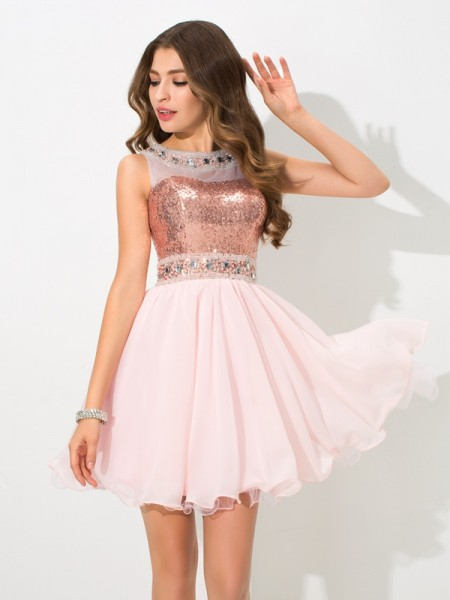 Fashion A-Line/Princess Sequin Sleeveless SheerNeck Short Chiffon Cocktail Dresses