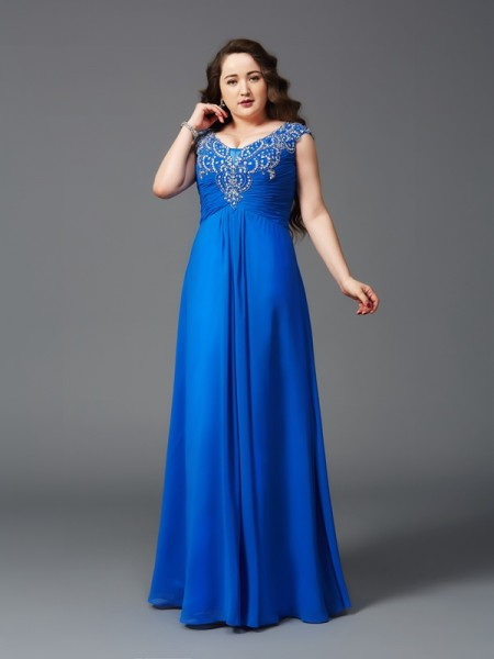 Stylish A-Line/Princess Beading Short Sleeves Straps Long Chiffon Plus Size Dresses