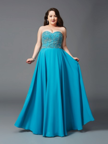Stylish A-Line/Princess Beading Sleeveless Sweetheart Long Chiffon Plus Size Dresses