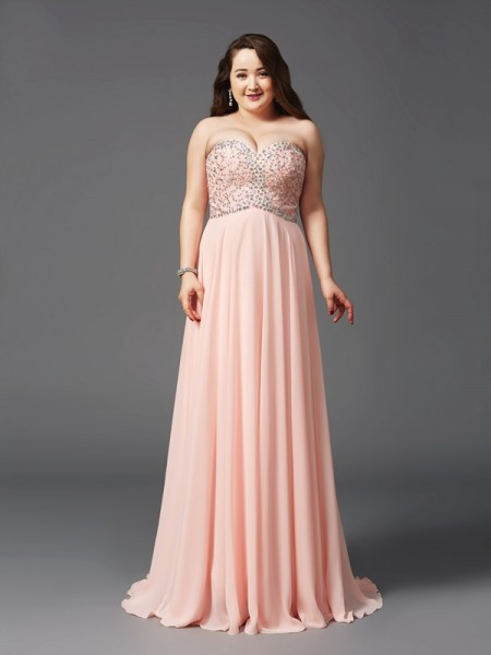 Fashion A-Line/Princess Beading Sleeveless Sweetheart Long Chiffon Plus Size Dresses