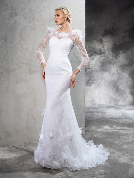 Fashion Sheath/Column Hand-Made Flower SheerNeck Long Sleeves Long Satin Wedding Dresses