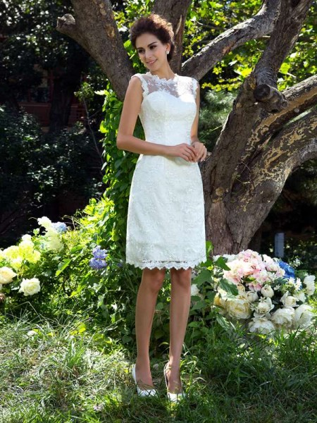 Fashion A-Line/Princess Applique Sleeveless SheerNeck Short Satin Wedding Dresses