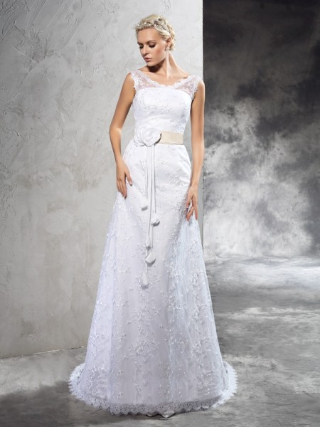 Fashion Sheath/Column Hand-Made Flower SheerNeck Sleeveless Long Satin Wedding Dresses
