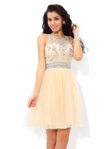 Fashion A-Line/Princess Beading Sleeveless SheerNeck Short Net Cocktail Dresses