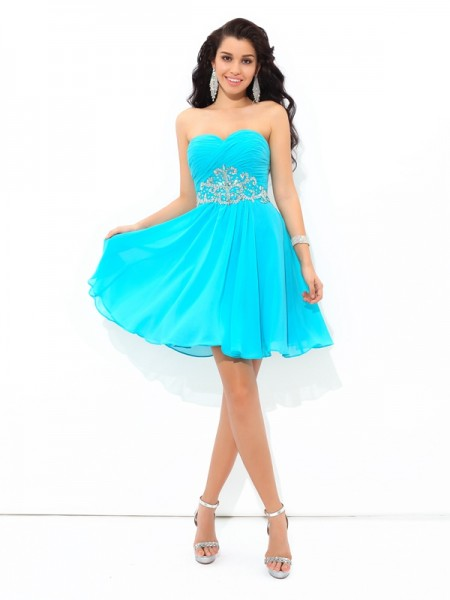 Stylish A-Line/Princess Pleats Sleeveless Sweetheart Short Chiffon Cocktail Dresses