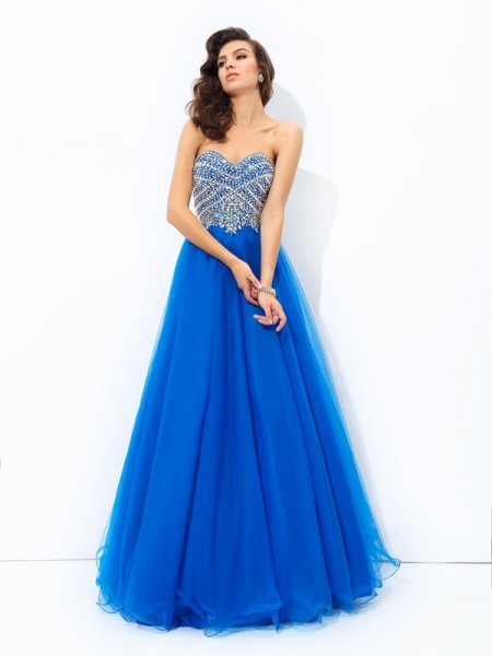Stylish A-line/Princess Sequin Sleeveless Sweetheart Long Net Dresses