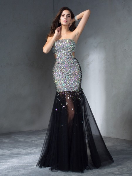 Stylish Sheath/Column Sequin Sleeveless Strapless Long Satin Dresses