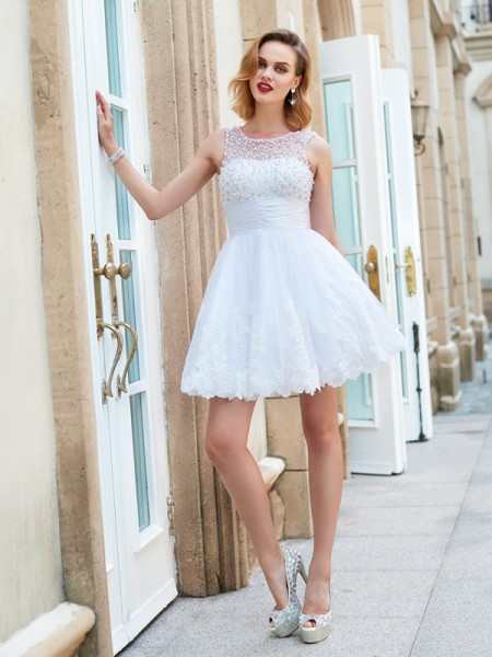 Stylish A-Line/Princess Sleeveless Pearls Jewel Short/Mini Lace Dresses